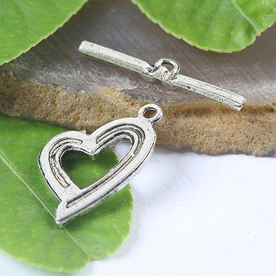 Corchetes de palanca de plata tibetana corazón 20 juegos H0042