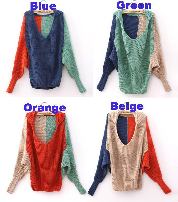 여성 의류 플러스 크기 후드 스웨터 batwing 소매 대비 망토 판초 케이프 후드 sweatershirts 코트 outerwer