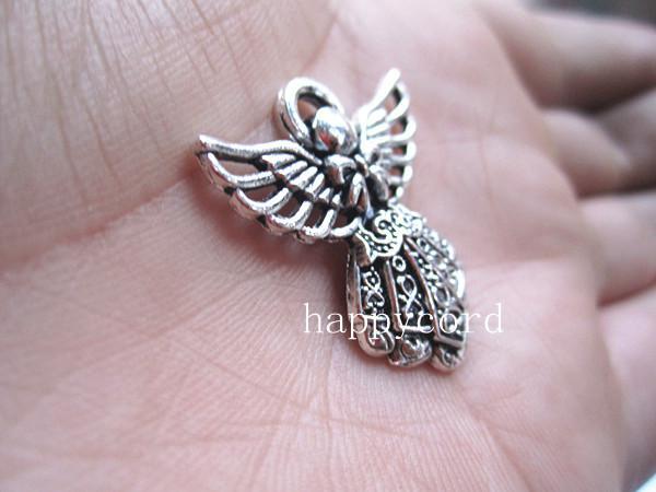 Pingente de anjo de prata antigo charme 23mmx25mm 40 pçs / lote