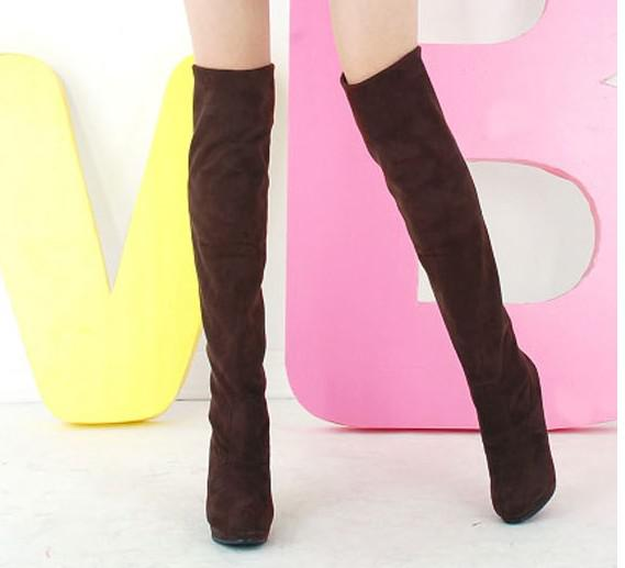 여성 신발 무릎 허벅지 위로 신축성있는 하이힐 부팅 4 크기 검정 갈색 회색 빨간색