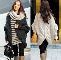 Wholesale Ladies Cloak Cotton - Women clothes cloak cardigan sweater overcoat Ladies plus size batwing sleeve poncho cape coat winter outerwear