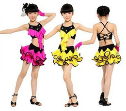 Wholesale Latin Dance Dress Wholesale - Children Girl's Bling Latin Dance Dress Female Mixed Color Skirt 2 Colors In