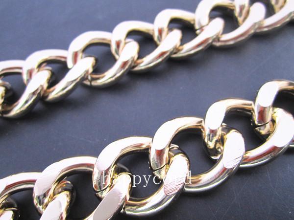 Cor misturada 21mmx24mm cor de ouro e prata Big cadeias de alumínio 4metres /