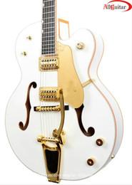 Wholesale Electric Guitar Hollow White - white jazz Hollow electric guitar gold hardware