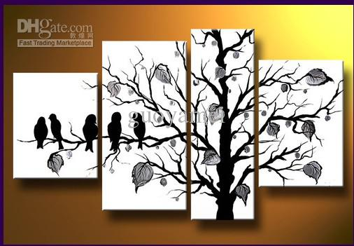 black white modern handicraft oil painting on canvas art decor wallbirds from guoyamei dhgatecom