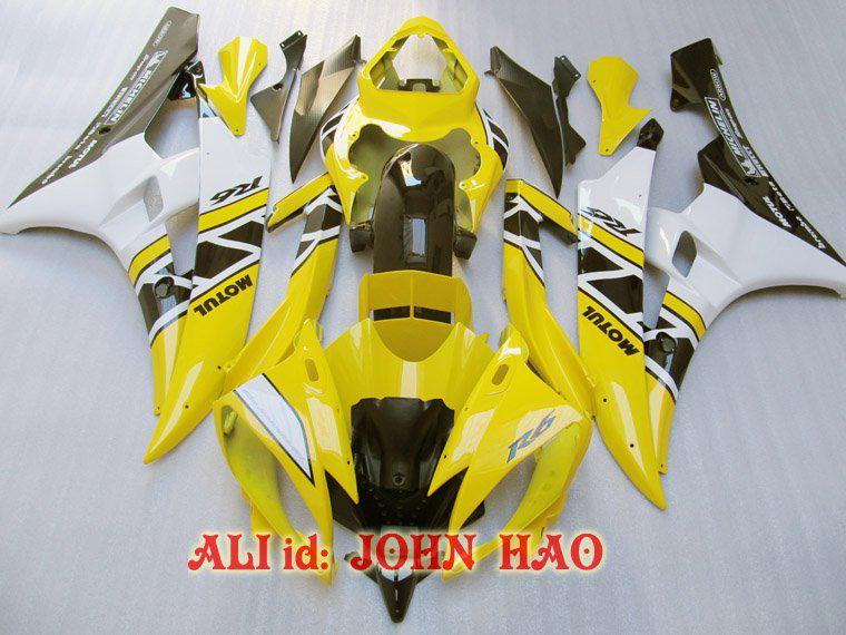 Gelb Schwarz für Yamaha YZF-R6 06-07 YZF-R6 YZFR6 YZF 600 YZF-600 06 07 Vollverkleidungssatz F