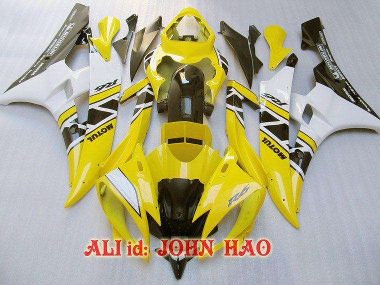 야마하 YZF-R6 용 옐로우 블랙 06-07 YZF R6 YZFR6 YZF 600 YZF-600 06 07 풀 페어 키트 F
