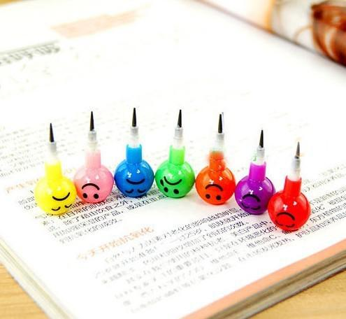Retail New Cute Colorful Crayon Face Expression Pencil Crayon Pen Christmas Children Educational Toys Baby Learning Toys