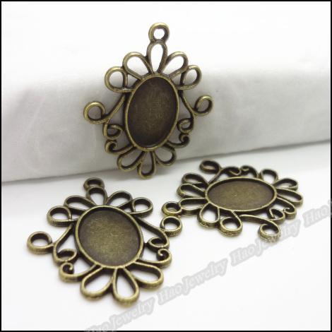 Charms Fotoğraf Çerçevesi Oval kolye Antik bronz Alaşım Bilezik Kolye DIY Metal Takı 100pcs / lot