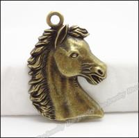 ingrosso cavallo di metallo antico-Fascini della testa di cavallo antiquariato del pendente di bronzo lega misura il braccialetto collana di DIY del metallo dei monili 20pcs / lot