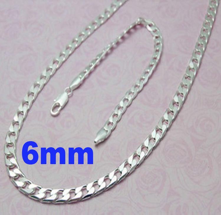 Hot Sale 925 Silver 6mm Men's Curb Chains Fashion Men's Necklace Bracelet set 24+8.0inch