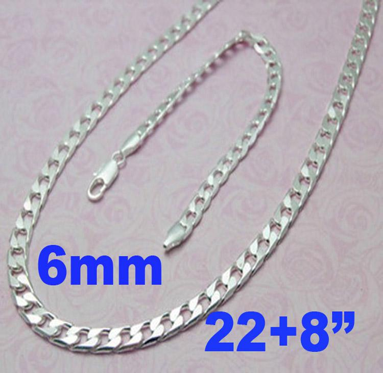 Mode Mäns Smycken 925 Silver Mäns Curb-kedjor Halsband med armband Set 22
