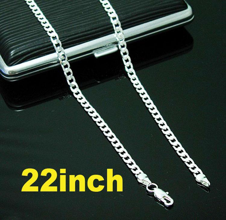 ファッションジュエリー925シルバー6mmフラットカーブチェーンメンズネックレス18インチ-24インチ4つの選択肢