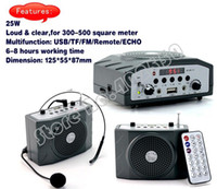 Wholesale Mini Pa Amplifier - 10pcs lot, waistband mini PA amplifier voice speaker MP3 player with remote, USB TF, FM audio