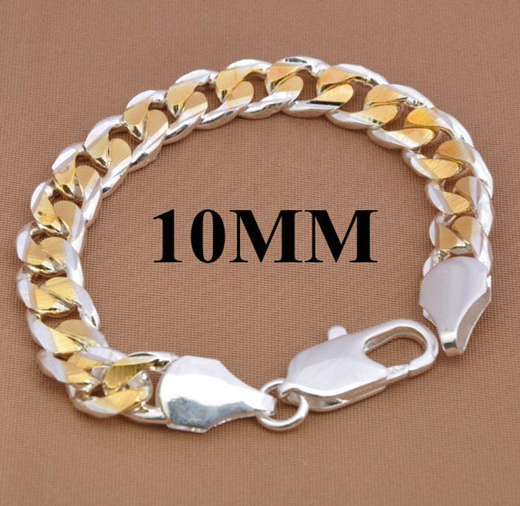 Venta caliente pulsera de los hombres 925 de plata negrita 10MM hombres chapado en oro Curb cadenas pulsera