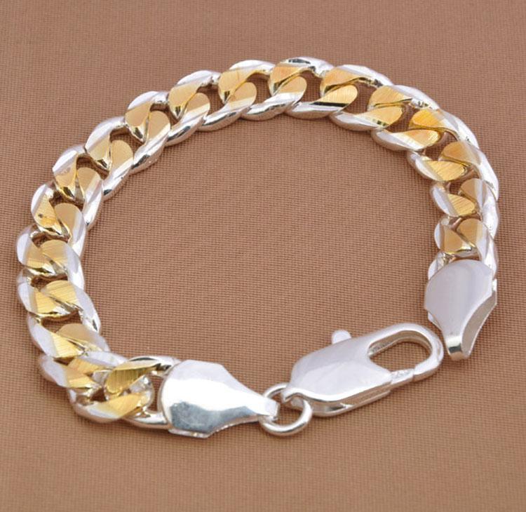 Venda quente Pulseira dos homens 925 de Prata Bold 10 MM dos homens Banhado A Ouro Curb Chains Pulseira