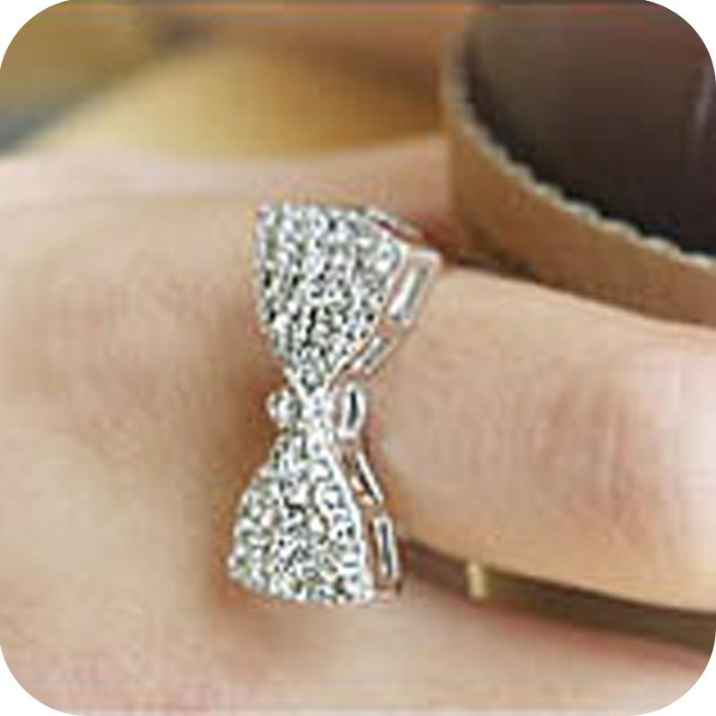 stackable ring theme pandora bow cz sparkling clear gold online shop sale rings