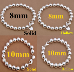$enCountryForm.capitalKeyWord NZ - Noble Women's jewelry 925 Silver 8mm 10mm Solid Hollow Ball Beads Bracelet 10pcs 8.0inch Hot