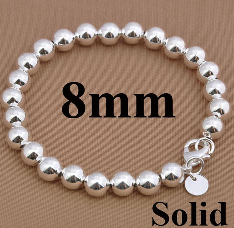 Noble Women's Sieraden 925 Silver 8mm / 10mm Solid / Hollow Ball Beads Armband 10 Stks 8.0Inch Hot