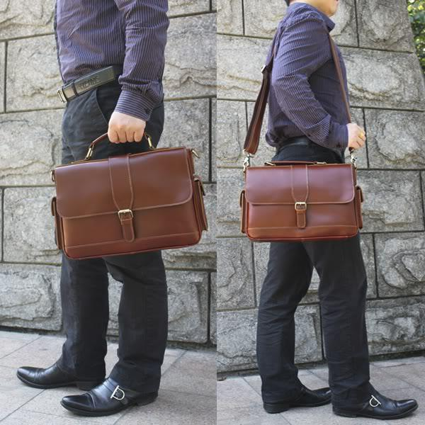 Intage Men'S Bull Real Leather Briefcase Messenger Briefcase ...