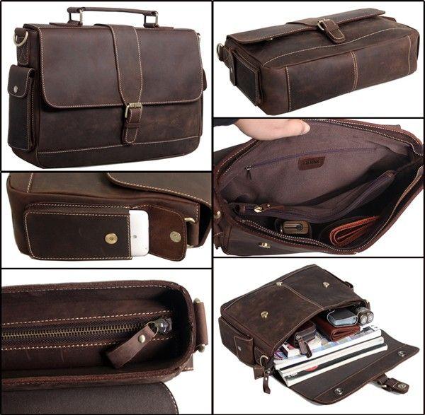 Computer Bag Mens Vintage Bull Real Leather Briefcase Messenger ...
