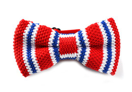 Wholesale Vertical Stripes Fashion - Men Neck Knitted Bowtie Bow Tie Red W Blue White Vertical Stripe Pre-Tied Adjustable Tuxedo Bow Ties Fashion Accessories