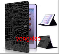 Wholesale Ipad Mini Crocodile Pink Case - Crocodile Leather Flip Case For Apple iPad Mini Luxury PU Stand Cover Skin mix order 100pcs