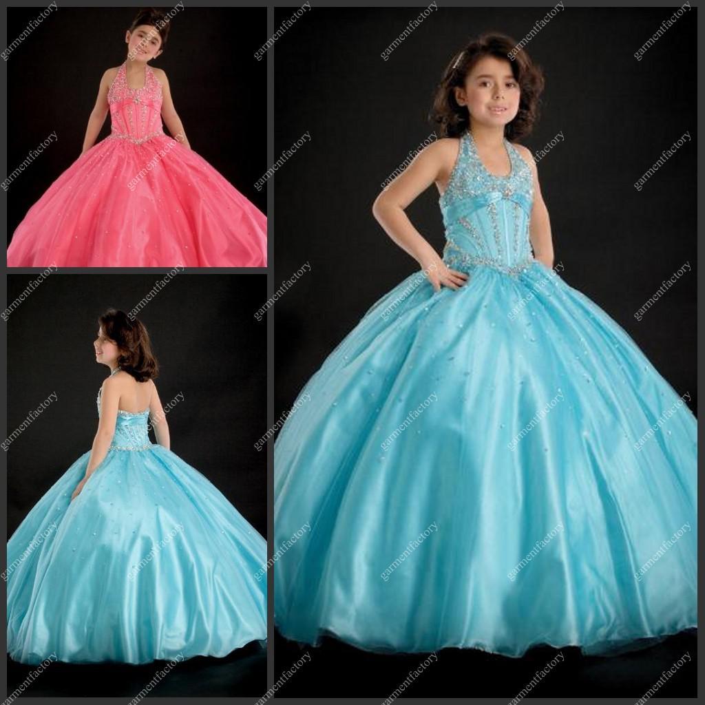 New Model Baby Flower Girls Wedding Dress Halter Beaded Top Blue ...