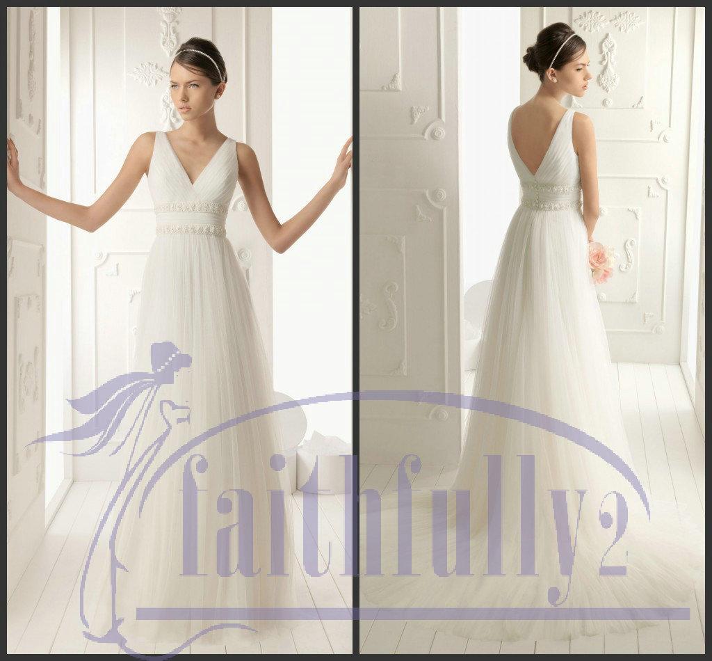Vintage V Neck Wedding Dresses With Lace Applique Sash Back Button Attached Bridal Gown RENE