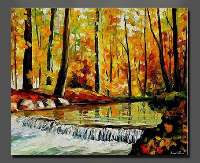 Forêt d'automne Rivière peinture à l'huile toile de paysage paysage maison bureau décoration mur art décor cadeau