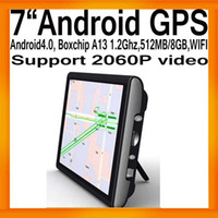 "Wholesale Android A13 Gps - HK Post 7""Android GPS Navigation Boxchips A13 Android 4.0 1.2G CPU External 3G 512MB 8G Flash FMT WI"