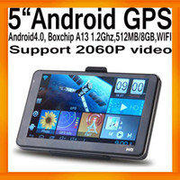 "Wholesale Android A13 Gps - FreeShipping Newest 5""HD Android GPS Navigation Tablet PC Boxchips A13 1.2Ghz Android 4.0 512MB 8GB"