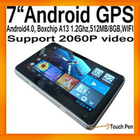 "Wholesale Android A13 Gps - China Post Free 7""HD Android Google GPS Navigation System Boxchips A13 1.2Ghz Android 4.0 512MB 8GB"