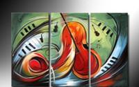 instrument ölmalerei großhandel-Ölgemälde auf Leinwand Abstrakt Musik Instrument Melodie Kunstwerk Modern Home Office Hotel Bar Dekoration Wand Kunst Dekor Geschenk Kostenloser Versand