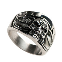 Wholesale Wholesale Biker Rings Free Shipping - Free Shipping! 3pcs stainless steel skull mens ring biker jewelry MER01-05