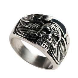 Wholesale Stainless Skull Rings - Free Shipping! 3pcs stainless steel skull mens ring biker jewelry MER01-05