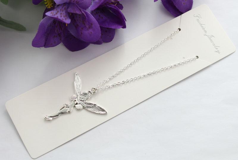10 st Sterling Silver Plated Fairy Pendant Chain Halsband # 22471 Partihandel Gratis frakt