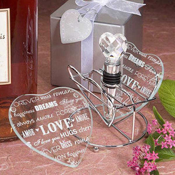 Free Shipping Glass Coaster Wedding Favors Decorations Heart Design 2PCS SET