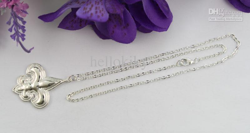 collares de cadena pendientes de plata esterlina de Fleur De Lis # 22478