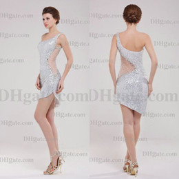 Wholesale Beautiful Columns - Sexy Fashion One Shoulder Bling Bling Beautiful Sweep Cocktail Dress CK061