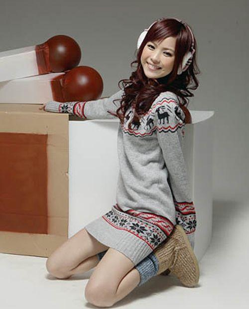 Suéter de punto de mujer vestidos Snowflake Fawn Jersey Jersey de punto Top Dress Knitdress Long Sweatershirt Abrigos de punto