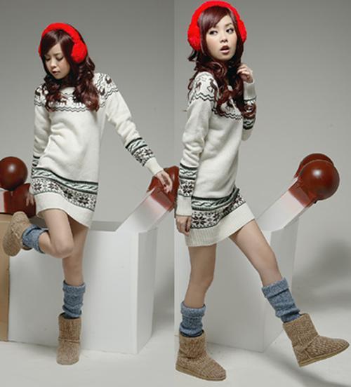 Femmes Pull en maille Robes Flocon de neige Fawn Pullover Jumper Top Dress Knitdress Long Sweatershirt Vêtements d'extérieur