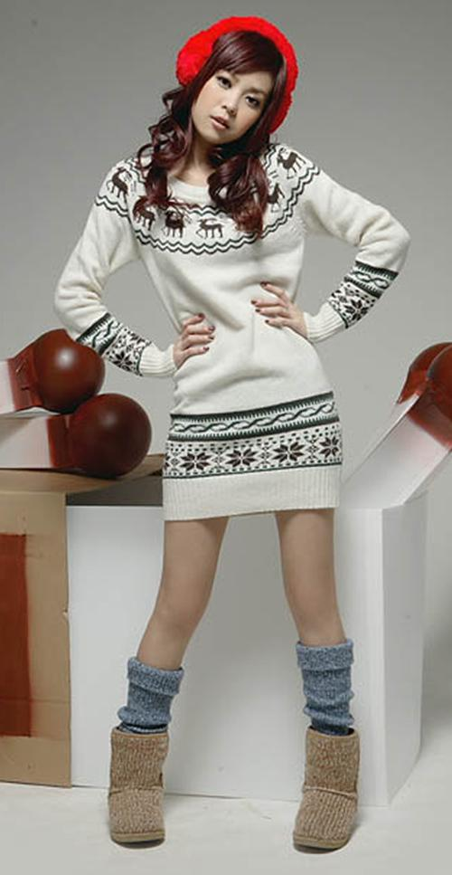 Dames Gebreide Sweater Jurken Sneeuwvlok Fawn Pullover Jumper Top Jurk Knitdress Long Sweatershirt Bovenkleding
