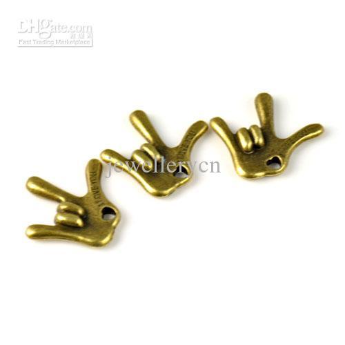 Signe de doigt en bronze antique pour je t'aime bijoux pendentifs de charme, PT-720