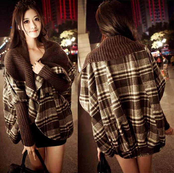 플러스 사이즈 여성 의류 Batwing Plaid Woollen Cloak 판초 케이프 코트 Ladies Loose Wool 자켓 Winter Outerwear
