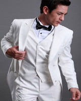 Wholesale White Jacket Tails - White Tuxedos Tails Back Vent Peak Lapel Bridegroom Best Man Suits (Jacket+Pants+Tie+Vest) G531