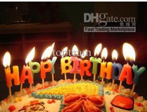 SıCAK! Renkli '' Mutlu Doğum Günü 'Mumlar, Yüksek Kalite, Bağımsız Ambalaj, EMS freeshipping
