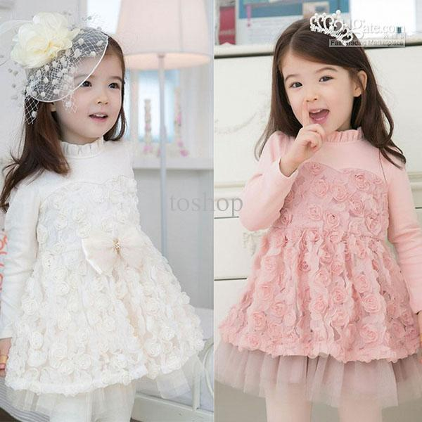 2017 70% Off Girl Dress Toddler Size Pink Or White Color Long ...