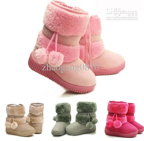 e3d8abd89322 Toddler Infant Flat PomPoms Kids Children Girls Shoes Winter Fur Snow Boots  Canada 2019 From Zhaogang0810