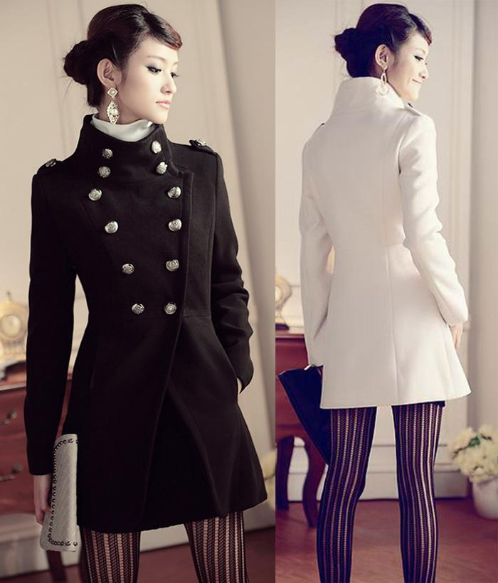 Womens Wool Coat Double Breasted Vintage Military Uniform Dress Slim